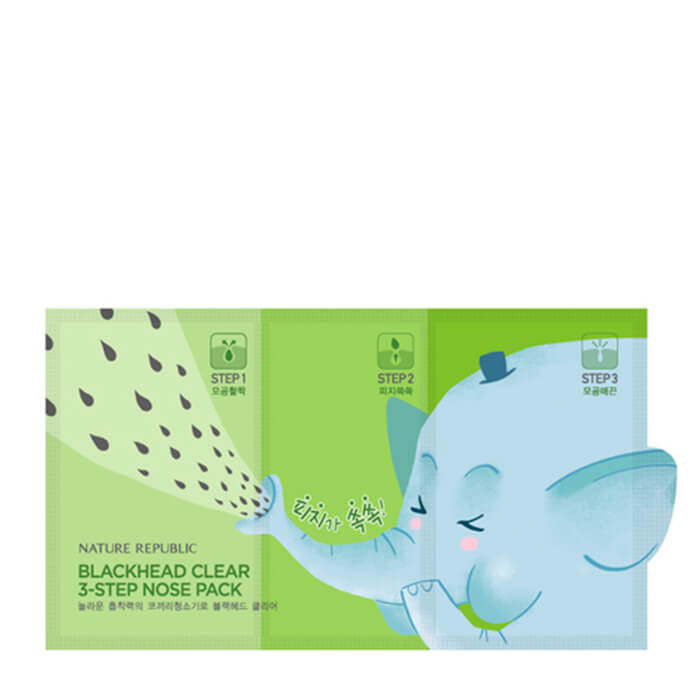 Набор от чёрных точек Nature Republic Blackhead Clear 3-Step Nose Pack